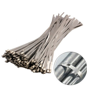 100-Pcs-4-6x300mm-Stainless-Steel-Exhaust-Wrap-Coated-Locking-Cable-Zip-Ties