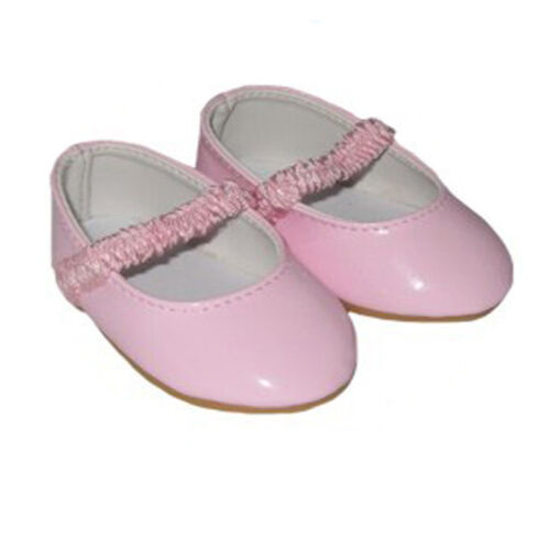 Pink Patent Shoes with Elastic Strap Fits 18 inch American Girl Dolls