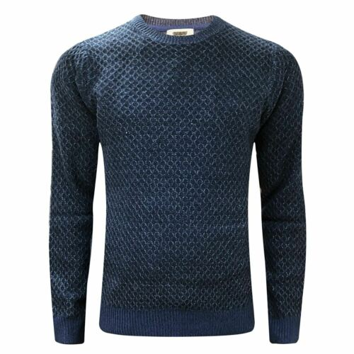 Mens M/&S Crew Neck Textured Weave Cable Fisherman Knit Jumper Pullover Sweater