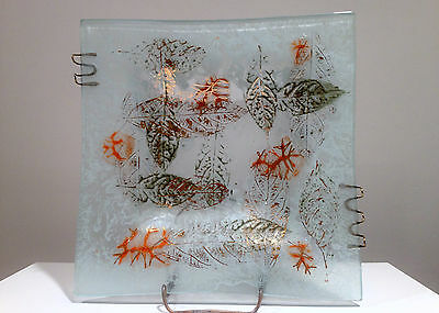 Early Higgins Glass Tray w Metal decoration Signed with Raised Stickman