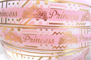 PRINCESS-gold-foil-Grosgrain-Ribbon-1-034-Cake-Clips-Cards-Craft-2-yds-5-yds-DCD