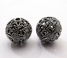 3 PCS BALI METAL BEAD 25MM ANTIQUED SILVER PLATED BEADS    #32