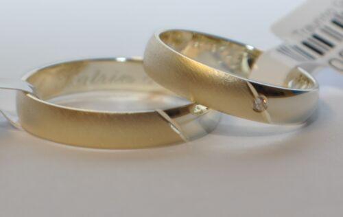 Bicolor Gelbgold 4mm 1 Paar Trauringe Gold 585 mit Zirkonia B Weißgold