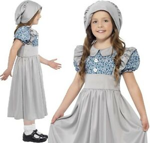 Childrens-Girls-Fancy-Dress-Victorian-School-Girl-Costume-Kids-Childs-Outfit-New