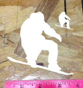 "Snowboard snowboarder Sticker Decal Graphic board ride 4/"" White Die Cut 2 for 1"