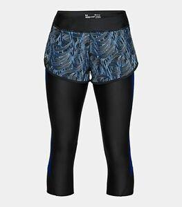 $55 BN UA Under Armour Women/'s Fly-By Printed Run Capri Large Black//Black