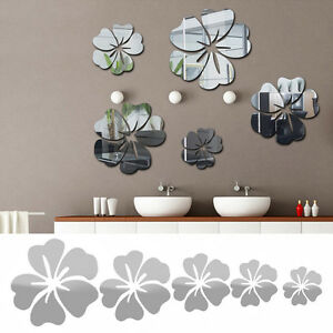 bl te blumen spiegel wandtattoo aufkleber sticker wohnzimmer bad deko de neu ebay. Black Bedroom Furniture Sets. Home Design Ideas