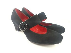 AMALFI-by-Rangoni-Black-Suede-Leather-Mary-Jane-ITALIAN-Heel-Women-039-s-Size-US7-5W