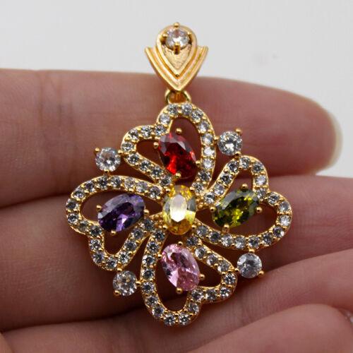 18K Gold filled-Rose Quartz citrine fleur cœur creux Moulin à Vent Lady pendentif