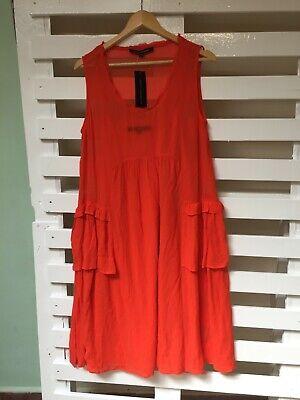 French Connection Bright Orange 2 Piece Drape Dress Size 14 Uk New Rrp 115 Ebay