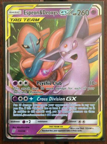 Pokemon Card  ESPEON /& DEOXYS  GX  Ultra Rare 72//236  UNIFIED MINDS **MINT**