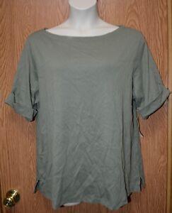 b75ba28fc204ea Womens Olive Green Karen Scott Short Sleeve Cotton Shirt Size 1X NWT ...