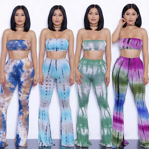 a36f1e2102 Womens 2 Pieces Tie Dye Trousers Wide Leg Bell Bottom Flared Pants ...