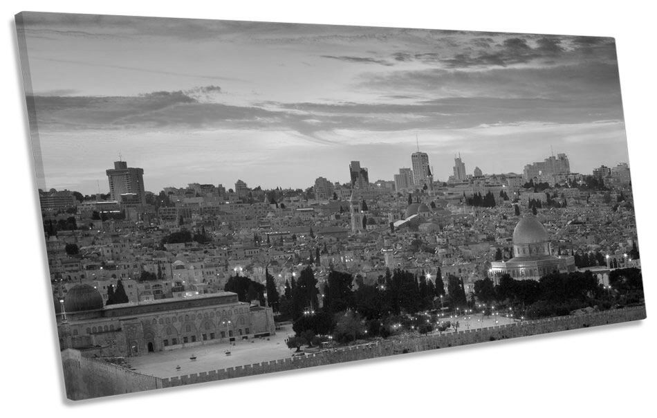 Gerusalemme Città Città Città Tramonto B&W BOX telaio stampa su tela arte Panorama e5ba47