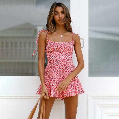 Boho Damen Kurz Overall Jumpsuit Playsuit Ärmellos Minikleid Strandkleid Sommer
