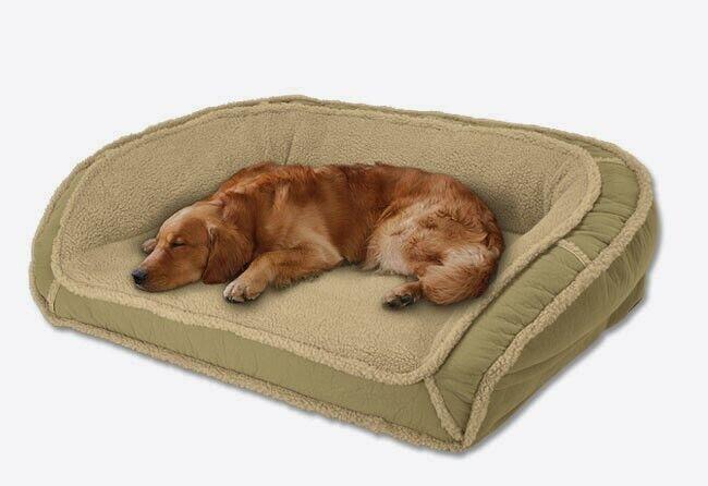 Orvis Memory Foam Fleece Lined Deep Dish Dog Bed MEDIUM Bolster Loden Grün NEW