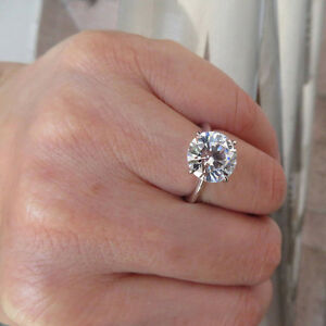 4-00-Ct-Solitaire-Round-Cut-Diamond-Wedding-Rings-18K-White-Gold-Ring-Size-M-N-J