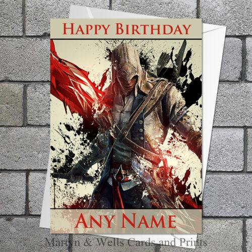 Assassin/'s Creed Personnalisé De Carte D/'Anniversaire 5x7 pouces.