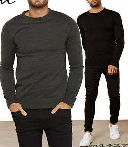 bf90ec9c8cafa Neuf pour Hommes Pull Pull Col Rond Hiver Chaud Noir - Taille S M L ...