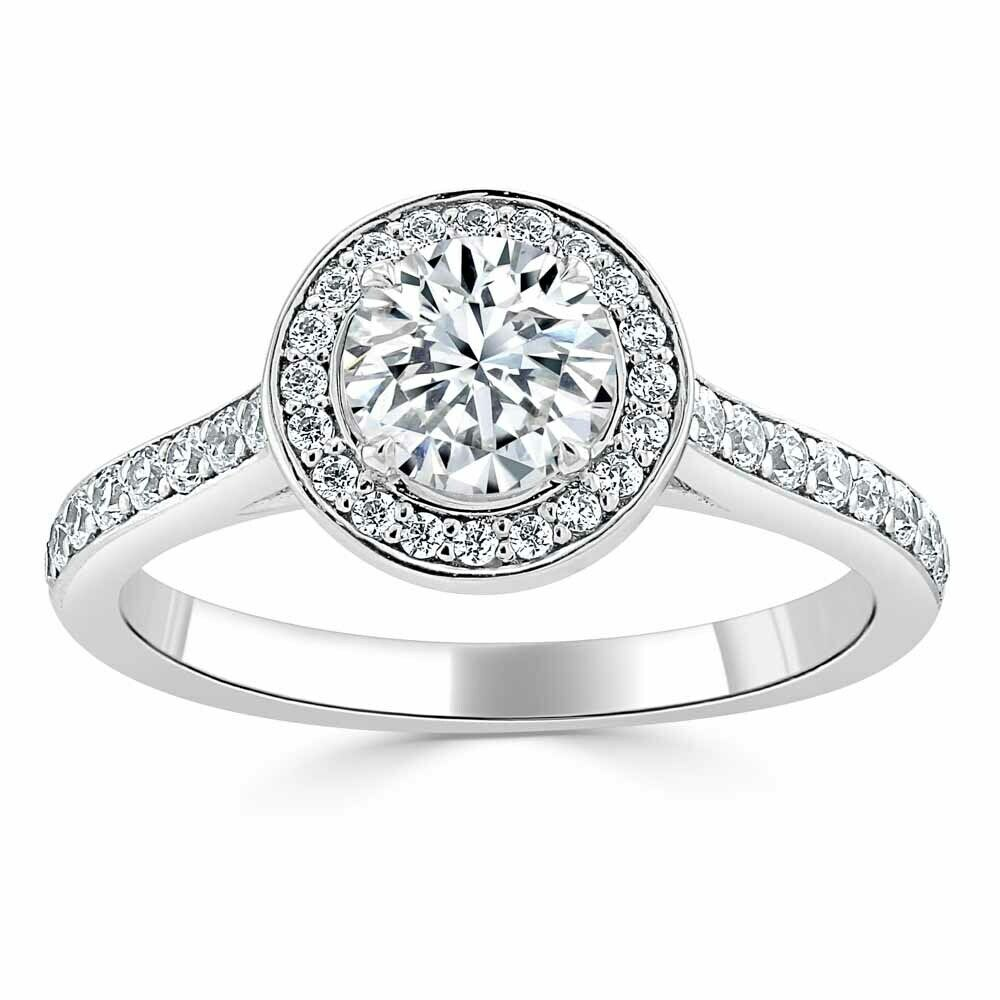 1.70 Ct Round Diamond Wedding Ring 14K Solid White gold Rings Size 6 7 +0274