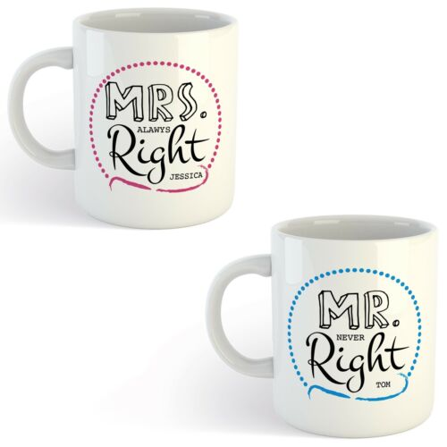 Personalised Mr /& Mrs Right Mug  Wedding Anniversary gift with optional message