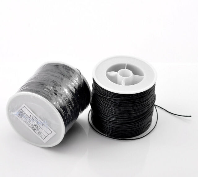 1Roll 90M Black Waxed Cotton Cord 0.5mm Dia. for Bracelets / Necklaces