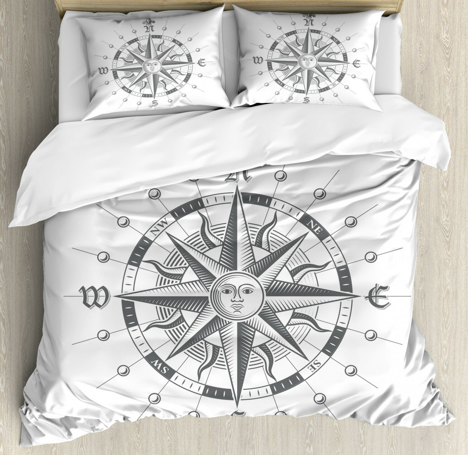 Compass Duvet Cover Set with Pillow Shams Old Paper Ancient Ship Print