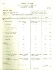 RUN FOR YOUR LIFE UNIVERSAL TELEVISION RARE ORIGINAL NBC 1968 MUSIC CUE SHEETS