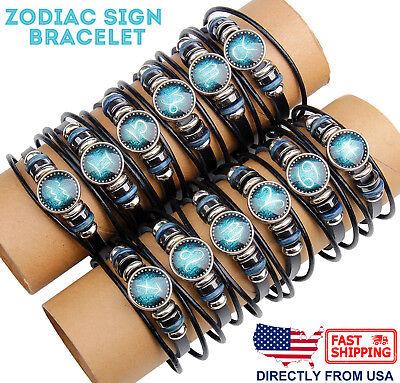 Leather horoscope zodiac birth sign wristband bracelet constellation