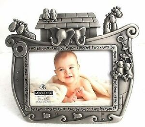 Malden Noahs Ark Infant Baby Picture Photo Frame 3 X 5 Silver New