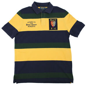 4ac2be95f23 Polo Ralph Lauren Men's Green Navy Yellow Striped Rugby Shirt ...