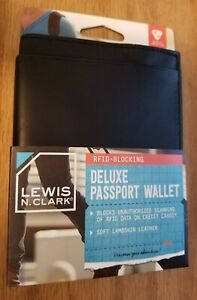 Lewis-N-Clark-DELUXE-LEATHER-PASSPORT-WALLET-RFID-Blocking-Protect-Info-NEW