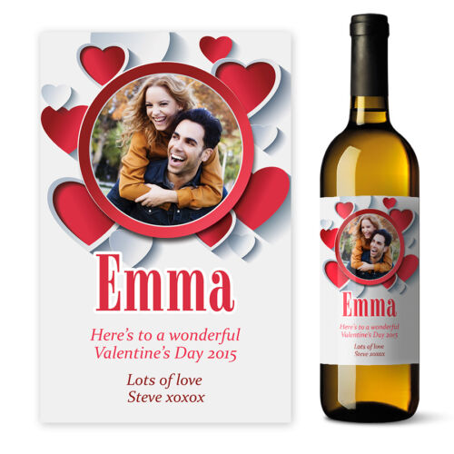 Valentines Day Wine label Personalised Photo gift