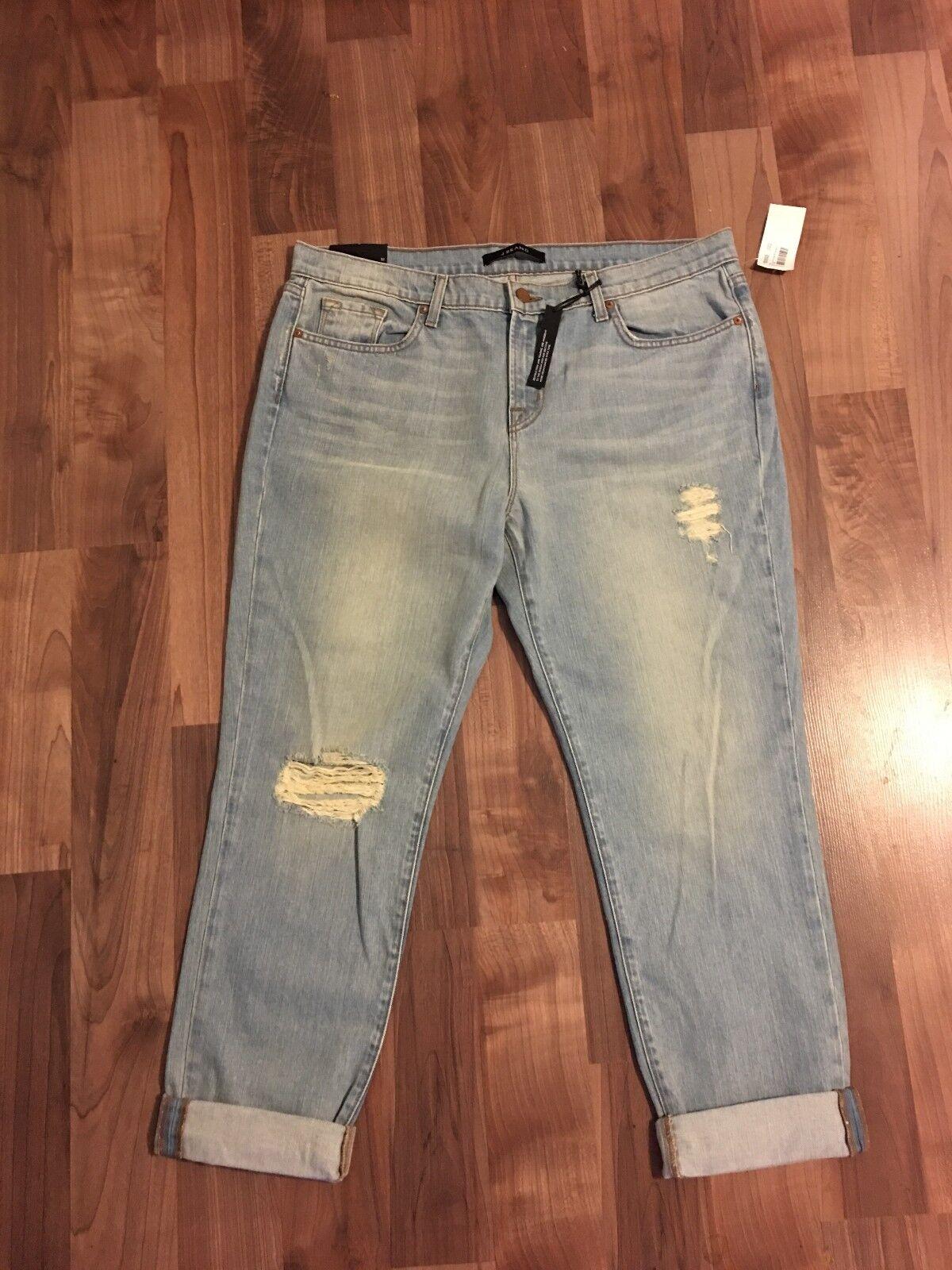 NWT J Brand Aidan Slouchy Boyfriend Jeans Women's Size 32 Light Wash Destroyed