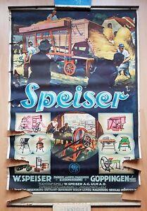 Reklame Plakat 81 cm x 52,7 cm um 1935 SPEISER Göppingen Erntemaschinen
