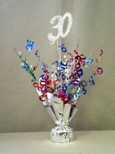 "2 Metallic Multicolor 30th Anniversary or Birthday Balloon Weights 15"" Tall"