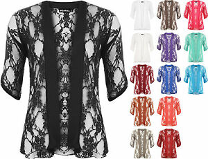 New-Plus-Size-Womens-Floral-Lace-Short-Sleeve-Ladies-Open-Cardigan-Top-12-26