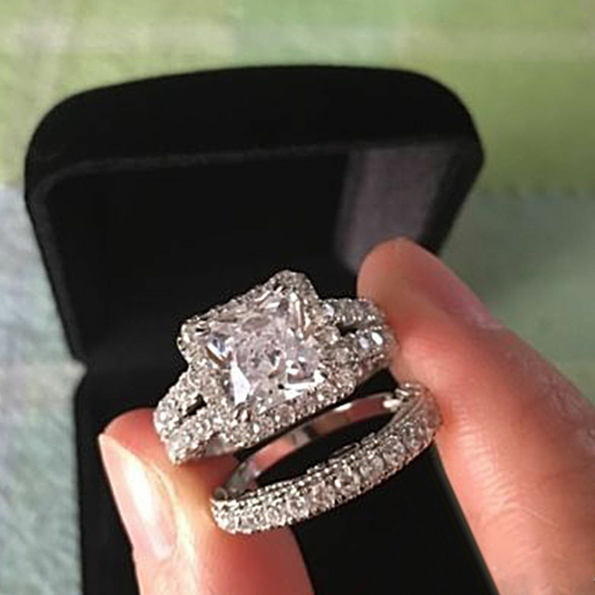 REAL 14K White gold Womens Princess Diamond Engagement Ring Wedding Bridal Set