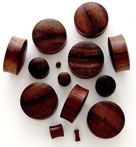 Carved Sono Wood Organic Flesh Ear Plugs 2pc PAIR