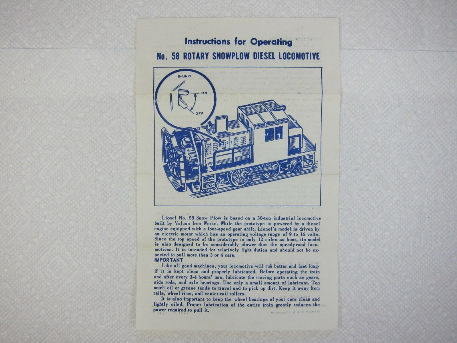 LIONEL POST WAR No. 58 redARY SNOW PLOW ORIG. 1959 INSTRUCTION SHEET-FREE SHIP
