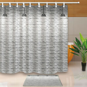 Image Is Loading White Brick Wall Bathroom Shower Curtain Waterproof Fabric