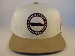 Tennessee-Volunteer-State-Vintage-Snapback-Hat-Cap-Ivory-Tan-Defect-Misprint