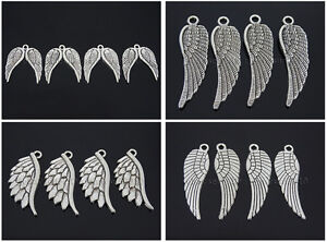 Tibetan-Silver-Carved-Angel-Wing-Metal-Pendant-Necklaces-Charm-Beads-Findings