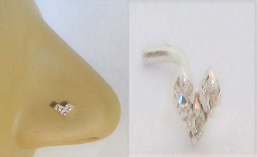 Sterling Silver Nose Stud Pin Ring Bent L Shape Triple Gem Heart 20 gauge 20g
