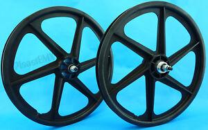 Skyway-BLACK-20-034-Six-Spoke-TUFF-WHEELS-Mag-SET-old-school-BMX-sealed-USA-made