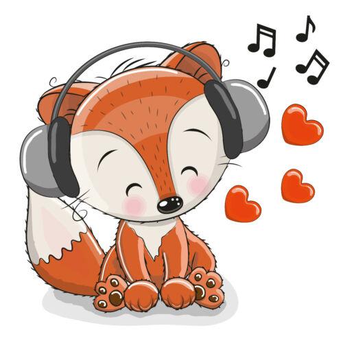 K26 Bügelbild Cintres transfert Sweet Renard Fox musique Cute DIN a4 O a5 lumineuses substances