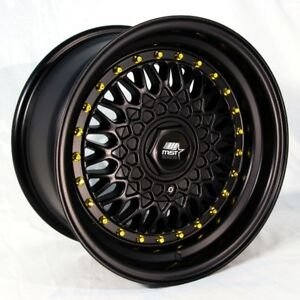 15x8-MST-MT13-4x100-4x108-20-Matte-Black-w-Gold-Rivets-Wheels-Set-of-4