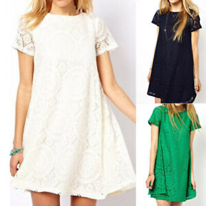 Fashion-Women-Sexy-Plus-size-Solid-Short-Sleeve-O-Neck-Lace-Hollow-out-Dress
