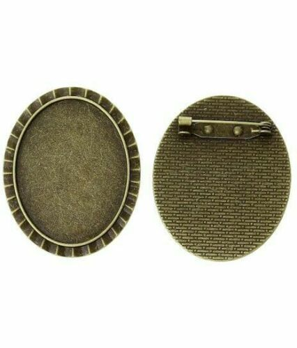 40x30mm Antique Bronze Cameo Cabochon Brooch Setting with Pin Back 755x