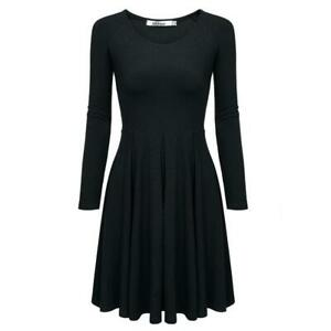 Meaneor-Women-Casual-Long-Sleeve-High-Waist-Solid-Stretch-Pleated-Dress-H1PS-08